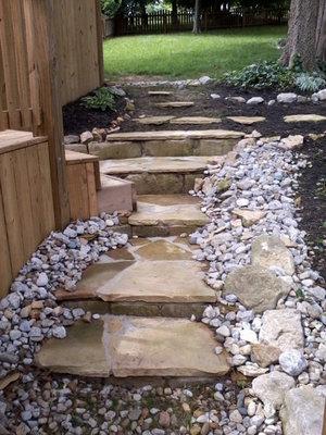 Natural Flat Stone Garden Stairway Beaverton